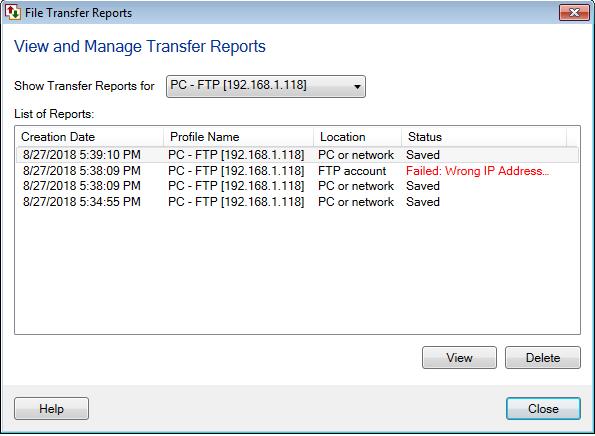 Configure File Transfer Report