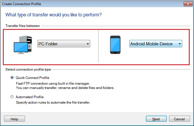 Transfer files between PC and Android mobile device using