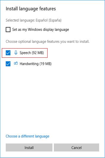 Download Windows 10 Language & Speech Pack