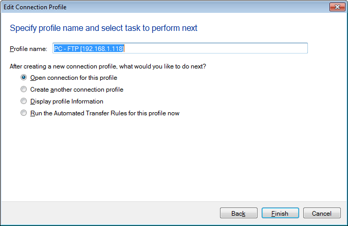 Auto FTP Manager : How to create or Edit a new connection