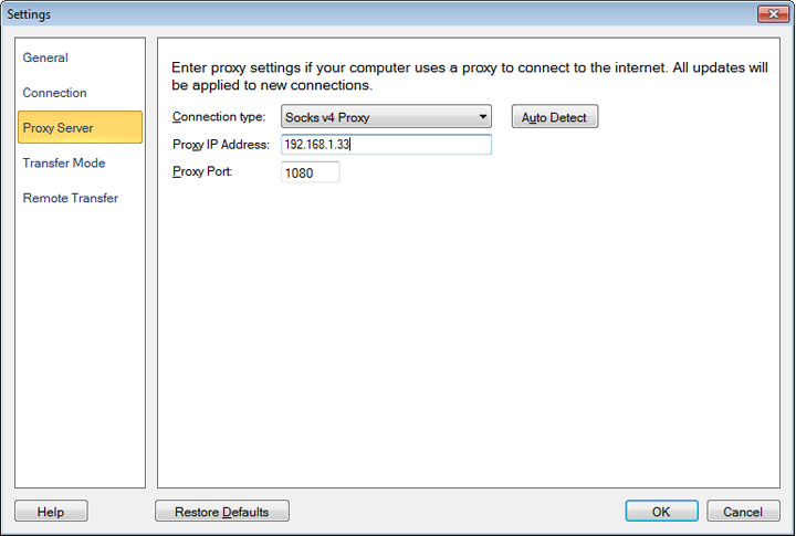 Auto FTP Manager : Configuring Proxy Server