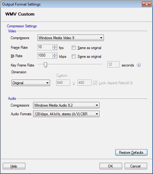 Digital Media Converter : Configuring WMV Custom Properties