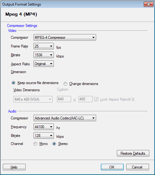 Digital Media Converter Pro : Configuring MP4 Properties