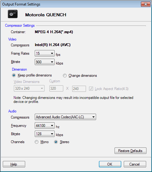 Digital Media Converter Pro Motorola Profiles