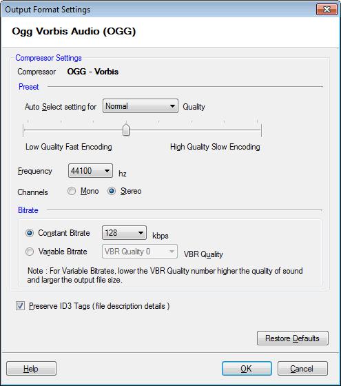 Digital Media Converter Pro : Configuring Ogg Vorbis Properties