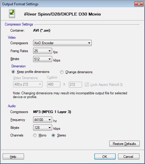Digital Media Converter Pro : iRiver Device Profiles