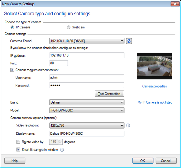 IP Camera Viewer : Add or Edit an IP Camera to application