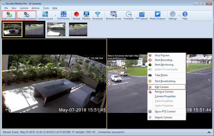 Security Monitor Pro : Working with Cameras