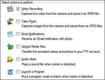 WebCam Monitor - Perform actions on motion detection