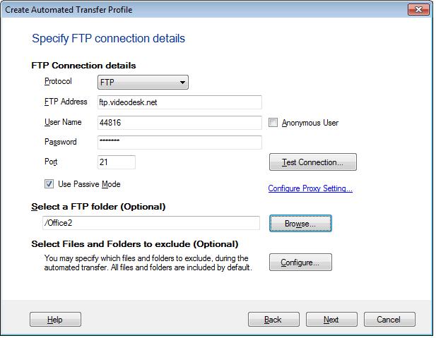 Auto FTP Manager: FTP Connection Details