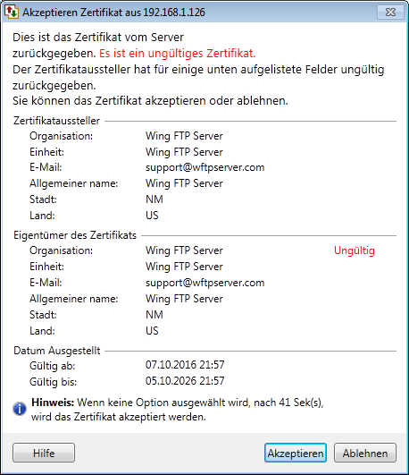 Auto FTP Manager : SSL-Zertifikate