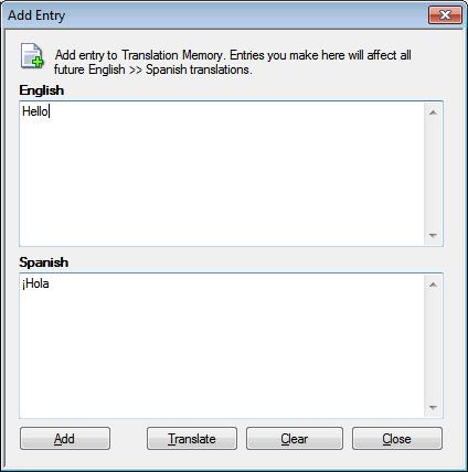 Site translator utilizzo di memoria di traduzione - Finestra in spagnolo ...